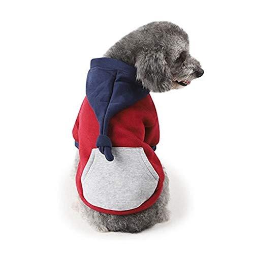 QHKS Ropa de invierno para mascotas, disfraz de cola larga, sudadera con capucha para cachorros, gatos, color rojo (color: rojo, talla: L)