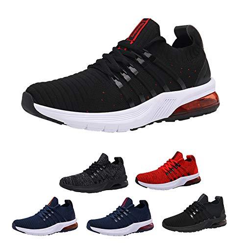 Zapatos para Correr con amortiguación de Aire para Hombres, Zapatos Deportivos Casuales, Zapatos de Gimnasia para Caminar con absorción de Impactos Antideslizantes Black red-47