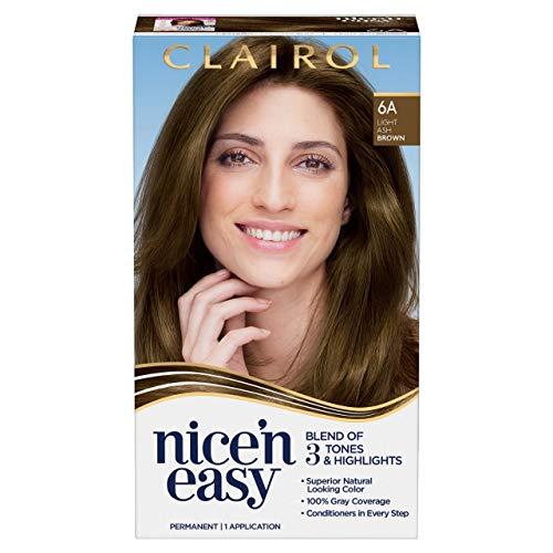 Clairol Nice'n Easy Permanent Hair Dye, 6A Light Ash Brown Hair Color, 1 Count