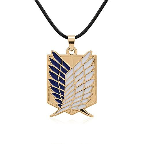 VAWAA Collar con Colgante de alas de la Libertad, Accesorios clásicos de Anime japonés, joyería de Ataque a los Titanes, Regalo de Cadena para Hombre