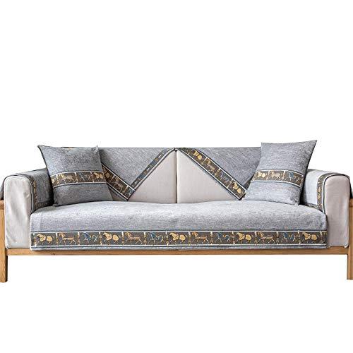 Funda para sofá con Bordado de Chenilla,Funda Suave para sofá,Protector Antideslizante para Perros,Gatos,Mascotas,niños,Sala de Estar,Gris,110 * 160 cm