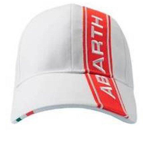 Abarth Rally Fiat - Gorra con logotipo de rayas rojas, color blanco