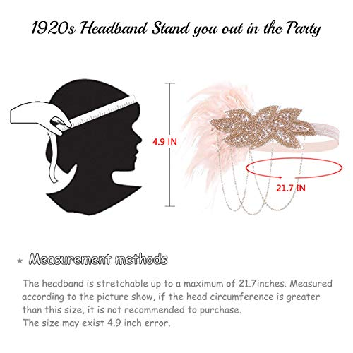 BOER 1920 Accessories Set - 1920s Flapper Costume Fancy Dress Gastby Accessories Feather Headband For Women (Style J)
