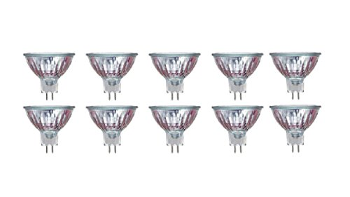 Pack of 10 50MR16//FL 50Watt, 12 Volt, MR16, 12V, EXN 50W GU5.3 Bi-Pin Base, Halogen Flood Light Bulb