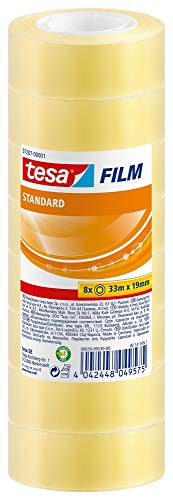 tesafilm standard - Transparentes Multifunktions-Klebeband für Heim- Schul- und Büroanwendungen - 33 m x 19 mm - 8er Pack