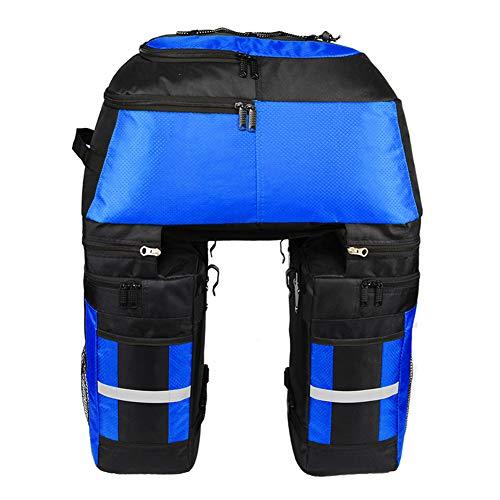 70L 3 en 1 bolsa del maletero para el asiento posterior de la bicicleta, bolsa de transporte - franja de advertencia multifuncional extraíble para la reflexión de la noche - Adecuado para,Azul