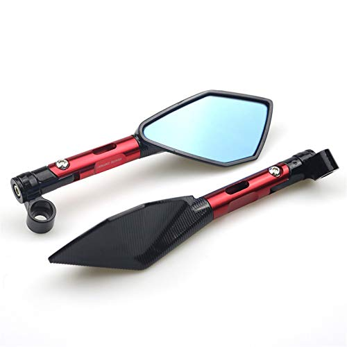 Mirmebike Mirror Universal, CNC Aluminio Motorario Motorario Vista Trasera Espejos Espejo Azul Anti-Glamare para Honda Suzuki Scooter (Color : Short Red)