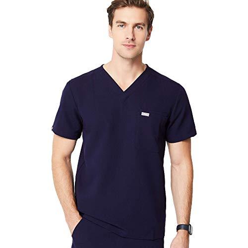 FIGS Medical Scrubs Men's Leon Two-Pocket Scrub top (Navy Blue, L)