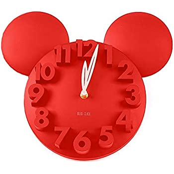 Modern Design Mickey Mouse Big Digit 3D Wall Clock Home Decor Decoration Red