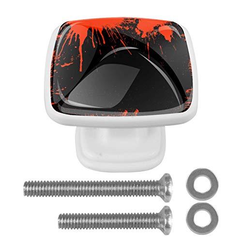 (4 unidades) pomos de cristal para armarios de armario, tiradores de cajón de 3,8 cm, tiradores de cajón para armarios de cocina, estanterías, estanterías, cajoneras, color rojo