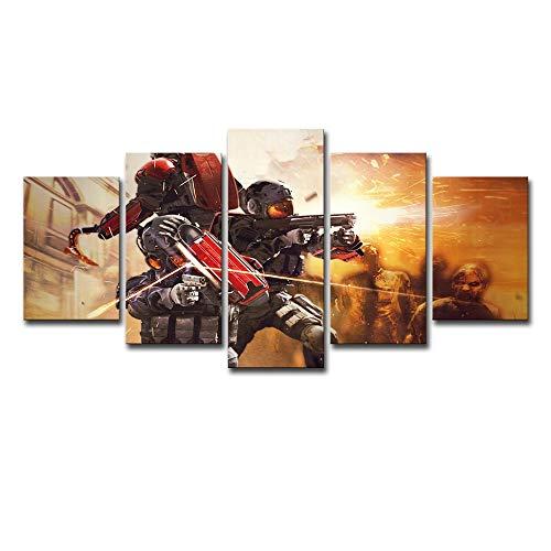 AMOHart Leinwanddrucke 5 Stücke Wandkunst Biohazard Fallschirmjäger Poster Wohnzimmer Ölgemälde Home Decoration Drucke auf Leinwand Rahmen