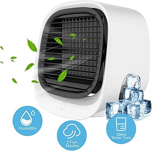 Enfriador de aire portátil, aire acondicionado portátil Enfriador de aire Ventilador Enfriadores evaporativos Humidificador Purificador USB con 3 velocidades Ventilador de enfriamiento de escritorio