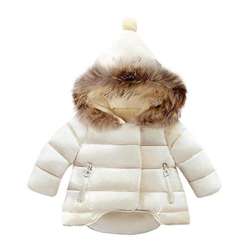 OVERDOSE Baby Jungen Mädchen Baumwolle Daunenjacke Steppjacke daunenmantel Winterjacke Winter Mantel Daunenjacke Dicke Warm Reißverschluss Kapuzenjacke (0-1 Jahre alt, A-White)