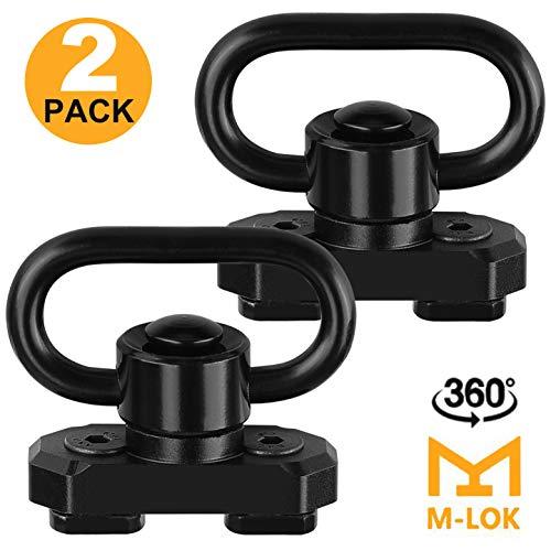"ROCEN MLOK QD Sling Mount Sling Swivels, 2 Pack 360° Rotation 1.25"" Quick Detach Push Button QD Sling Swivels Mounts Adaptor for M-lok System"