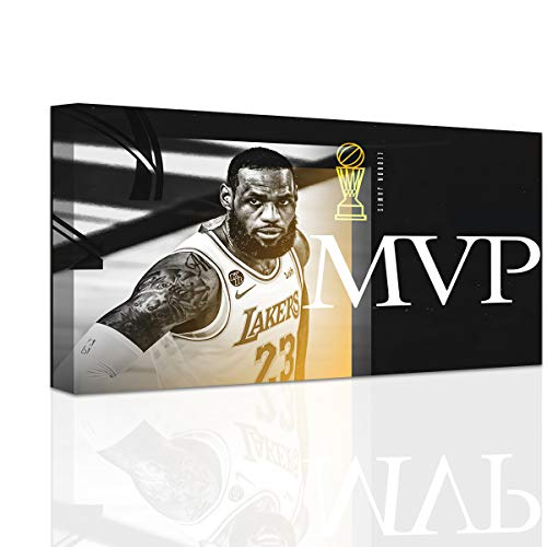 Finals Mvp of Basketball Game LeBron James Poster for Walls Canvas Print Wall Art Poster (12 * 18inch,Wood Framed)
