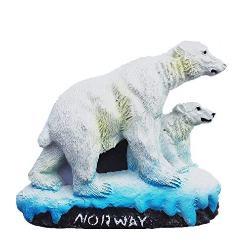 MUYU Magnet 3D Polar Bear Aimant de réfrigérateur Souvenir de Norvège, à la Maison et décoration de Cuisine en polyrésine Craft, Norvège Aimant de réfrigérateur