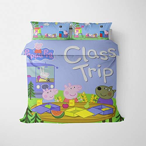 NICHIYO Peppa Pig George Pig Duvet Cover Bedding Set Duvet Cover and Pillowcase Microfibre 3D Digital Print Three-Piece Bedding (Duvet Cover + Pillowcases) (16.AU Double180 x 210 cm)