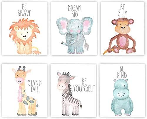 iMagitek 6 Set Unframed Jungle Animal Quote Wall Art Jungle Animals Nursery Decor Safari Nursery product image