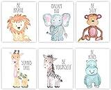 iMagitek 6 Set Unframed Jungle Animal Quote Wall Art, Jungle Animals Nursery Decor, Safari Nursery Wall Art, New Baby Gift, Baby Shower Gift (8' x 10')