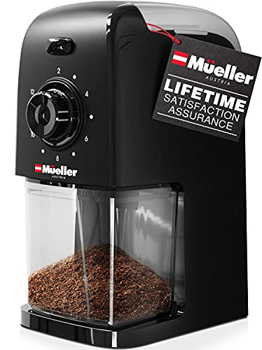 Mueller SuperGrind Burr Coffee Grinder Electric with Removable Burr Grinder Part - Up to 12 Cups of Coffee, 17 Grind Settings with 5,8oz/164g Coffee Bean Hopper Capacity, Black