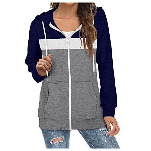 Baiomawzh Sudadera con capucha para mujer, con bolsillo en los dos lados, top liso y fino, para exteriores, para adolescentes, niñas, ropa deportiva, informal, patchwork, con cremallera, Azul#1, L