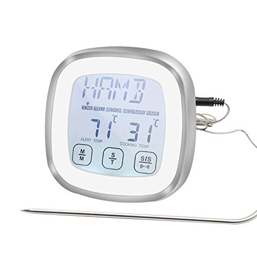 Termómetro de carne con pantalla táctil, termómetro digital para barbacoa, horno, cocina y ahumador, luz de fondo y alarma para cocinar pavo, pescado, jamón y cerdo