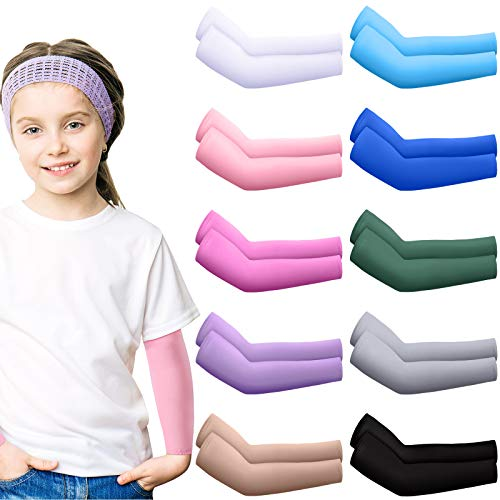 10 Pairs Sun Protection Cooling Arm Sleeves Ice Silk Elastic Arm Sleeves for Kids Toddlers Outdoor Sports (Multi-Color)