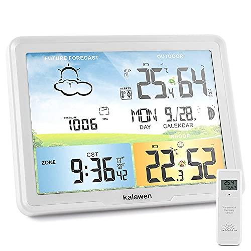 Kalawen Wetterstation Funk mit Außensensor Digital Farbdisplay DCF-Funkuhr Innen und Außen Weather Station Thermometer Hygrometer Funkwetterstation mit Wettervorhersage Barometer und Mondphase (Weiß)