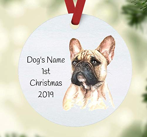 French Bulldog - Baby's First Christmas - Gift for Dog Mom or Dad - Personalized French Bulldog Christmas Ornament