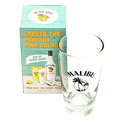 PetrolScooter Distributed Malibu Tall Hi Ball Rum Drink Vaso de cristal para el hogar, bar, bar, fiesta, en caja de regalo