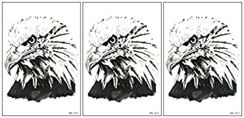 ONCEX Big 3 Sheets Eagle Temporary Fake Tattoos Painting Bald Eagle Falcon Bird Cartoon Tattoo 3D Sexy Cover Up Makeup Body Stickers Decorations Lower Back Shoulder Neck Arm for Teens Adult