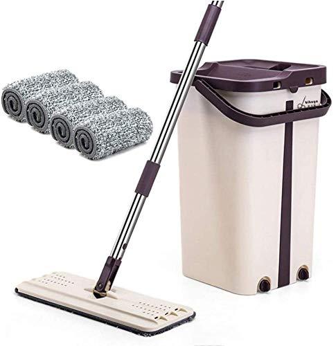 LEYU - Juego de fregona y cucharones de limpieza automática y secado con exprimidor, extensión de mango adicional 360 giratorio para limpieza de suelos de hogar/oficina
