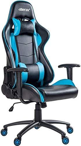 Shengluu Sillas De Oficina Robusto Ordenador Trabajo de la Silla Silla de Oficina Ajustable en Altura de Cuero Silla de la computadora de la PU 2020 Amazon (Color : Blue)