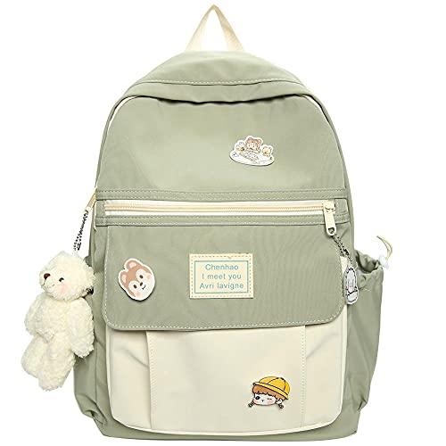 XZJY Studentin Nylon Rucksack Niedlich Harajuku Kawaii Schultasche Für Frauen Mode Abzeichen Tasche Trendbuch -green_No_Bear_pendant