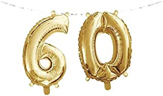 Creative Converting 331843 Number 60 Foil Balloon Banner with Ribbon Gold 2 Piece
