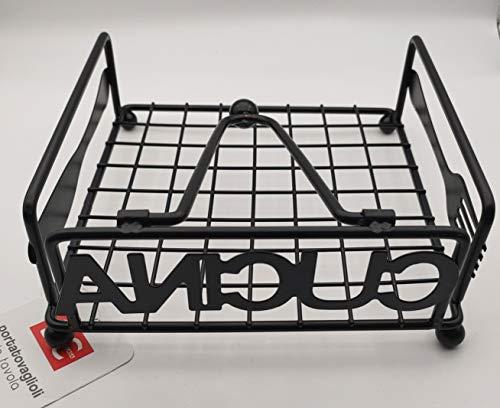 DC Servilletero de mesa negro mate 18 x 18 x 7 cm