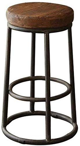 YLCJ Retro massief houten barstoel ronde kruk smeedijzeren bank stoel met pedaal eettafel kruk schminktafel stoel (grootte: 75 cm)