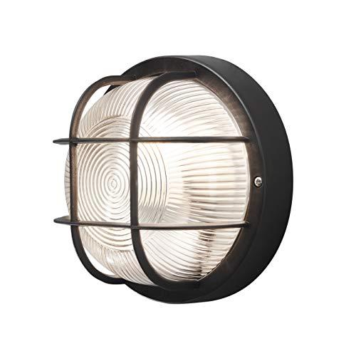 Konstsmide Mantova 7651-750 wandlamp B: 18,5 cm D: 10 cm H: 18,5 cm / 1x40 W/kunststof/plastic/helder glas/zwart
