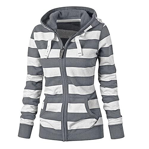 Briskorry Sudadera con capucha para mujer con estampado a rayas, de gran tamaño, con cremallera, de manga larga, para otoño e invierno, gris, XXXXL