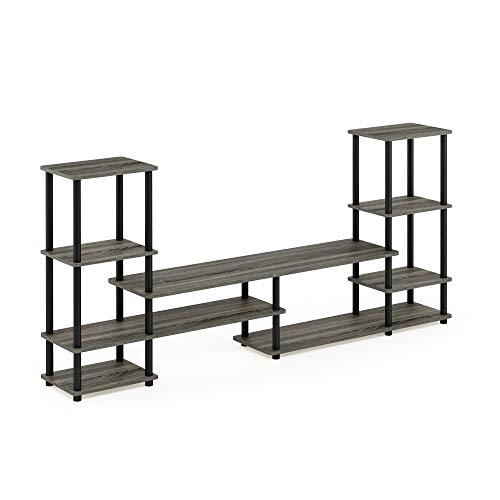FURINNO Turn-N-Tube Grand Entertainment Center, French Oak Grey/Black