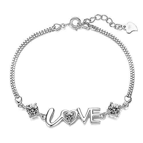 Bracciale a maglie placcato argento 925 con zirconia cubica e scritta Love, per donne e ragazze
