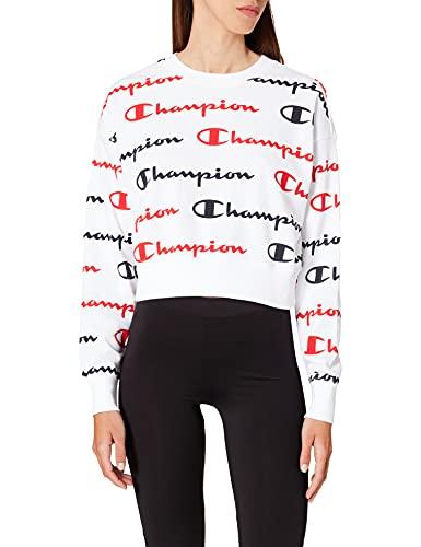 Champion Seasonal AC Logo Allover Crewneck Sweatshirt Camisa de Entrenamiento, White Wl002, L para Mujer