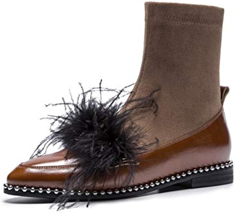 MENGLTX High Heels Sandalen Mode Vintage Vintage Frauen Stiefeletten Aus Echtem Leder Low Heels Schuhe Frau Herbst Winter Nachtclub Tanzen Schuhe  Null Gewinn