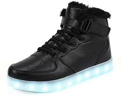 FLARUT 7 Farben LED Schuhe USB Aufladen Leuchtschuhe Licht Blinkschuhe Leuchtende Sport Sneaker Light up Turnschuhe Damen Herren Kinder (35 EU, Schwarzes Fell)