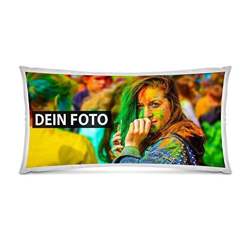 Foto-Kissen XXL Selbst gestalten (80 x 40 cm) - mit Foto individuell Bedruckt - Weiß - 100% Polyester/Inkl. Kissenfüllung/Personalisierte Geschenk-Idee/Kopfkissen mit eigenem Foto