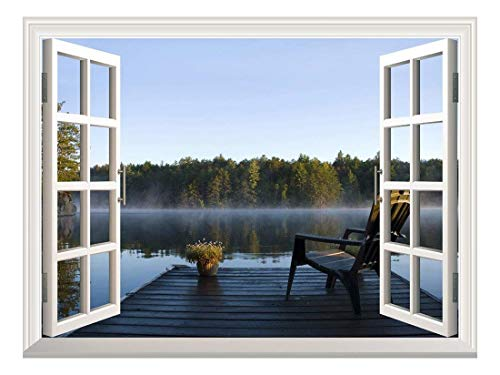 Removable Wall Sticker/Wall Mural - Peaceful Lake View with a Chair on a Wooden Pier | Creative Window View Wall Decor - 24'x32'