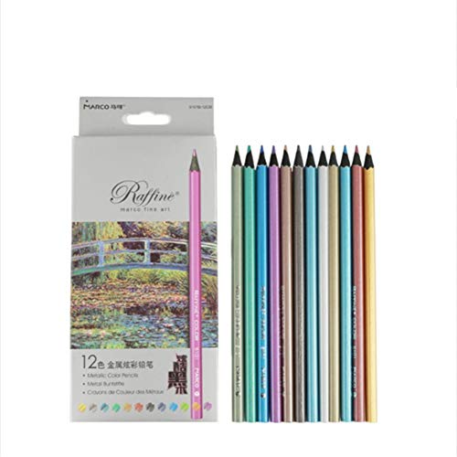 Metallic Colored Pencils Assorted Coloring Pencil Set Wooden Drawing Pencils For Art Drawing Adult Coloring Book 12Pack