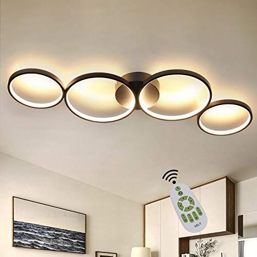 GBLY LED Dimmbar Deckenlampe Modern Wohnzimmerlampe 4 Flammig in Ringoptik, 55W Schwarze Innen Deckenleuchte aus Aluminium Dekorative Kronleuchter für Schlafzimmer Wohnzimmer Büro Arbeitszimmer, 88cm