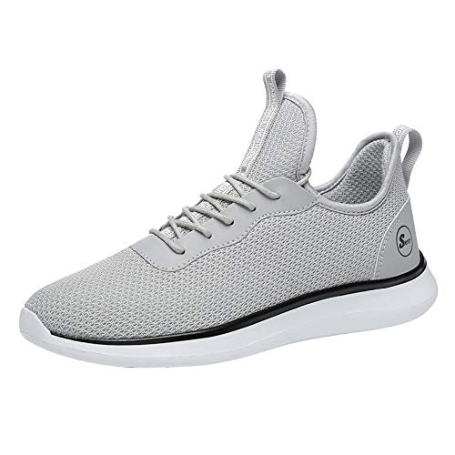 Luckhome Damen Herren Laufschuhe Sportschuhe Turnschuhe Trainers Running Fitness Atmungsaktiv Mesh Freizeitschuhe Gurt Sneakers (Grau,EU:42)
