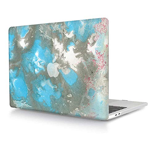 MacBook Pro 13 Case A1278(Release Early 2012/2011/2010/2009/2008,with CD-ROM),AJYX Plastic Pattern Hard Shell Case Cover Compatible with Older Version MacBook Pro 13 Inch - Blue & Grey